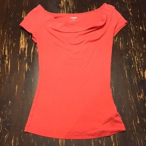 Express Coral Basic Sexy Scoop Tee